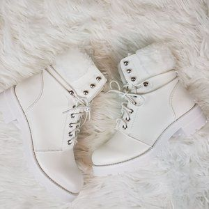 MIA Jeremy White Faux Fur Trimmed Lace Up Boots